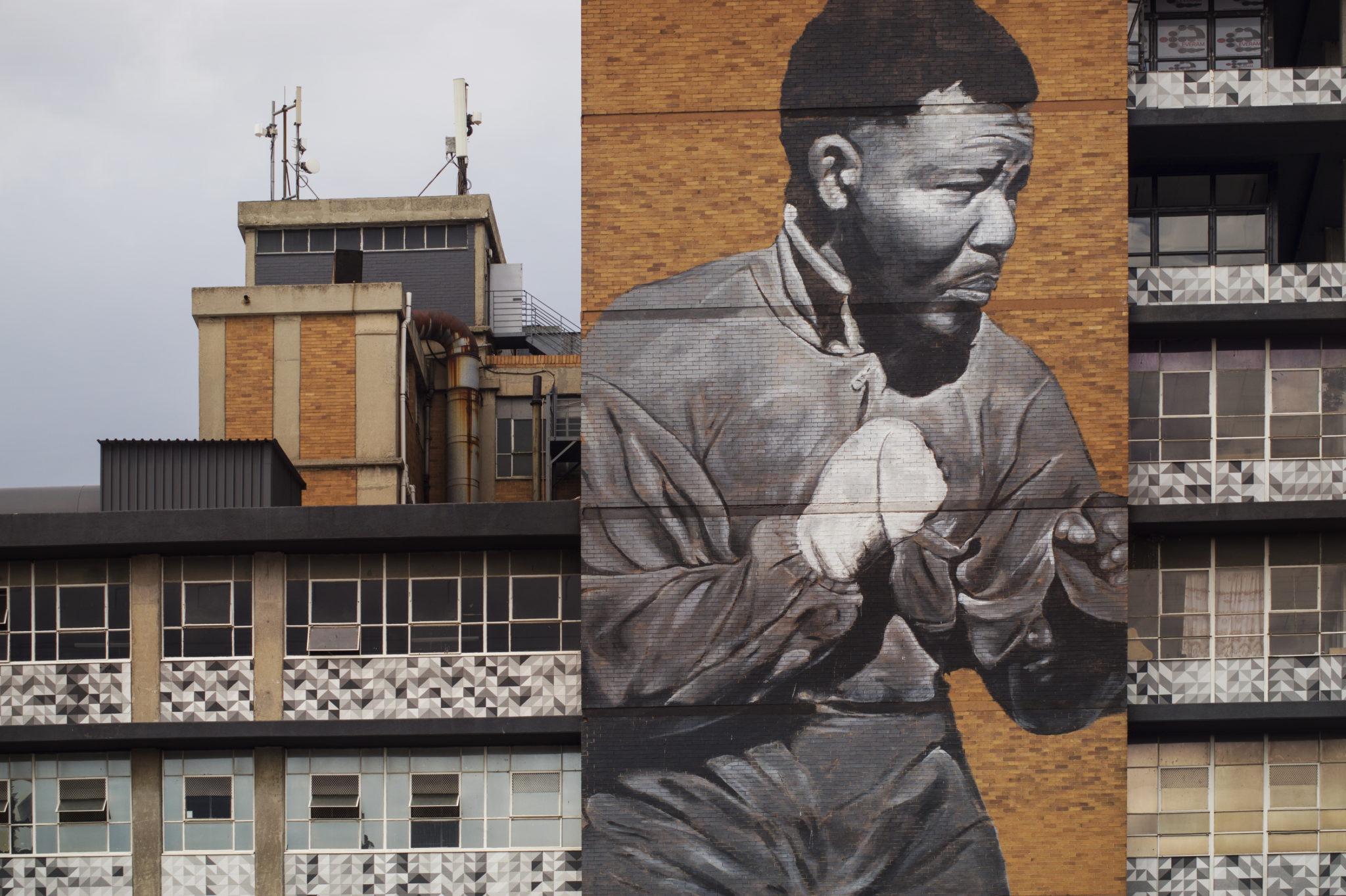 Nelson Mandela als Mural in Johannesburg