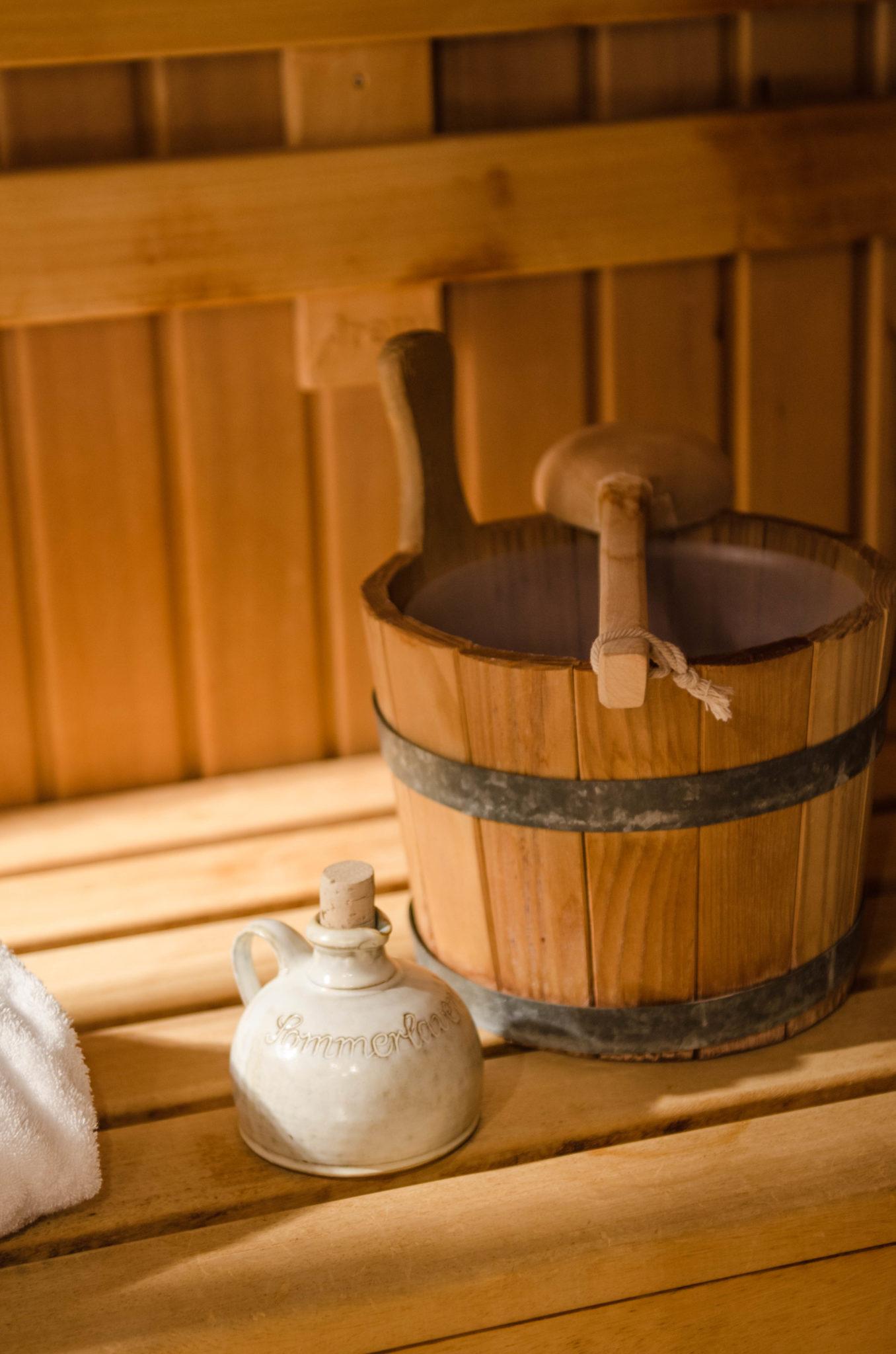 Eine eigene Sauna im Zimmer? Gibt's im Bleiche Resort & Spa