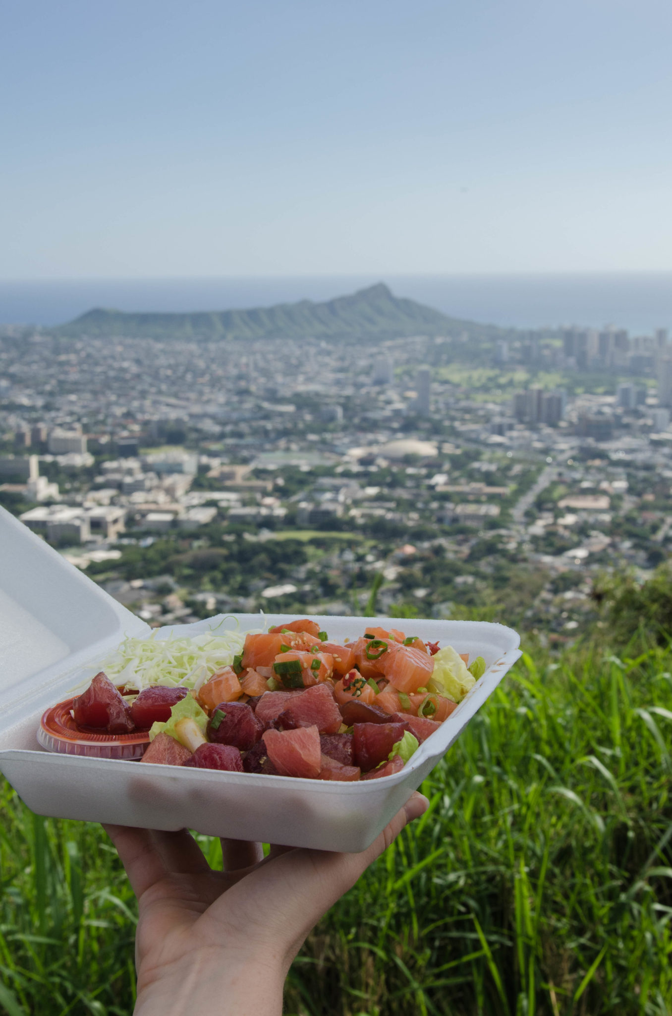 Sehenswürdigkeiten Hawaii: Poke mit Blick auf Oahus Diamond Head