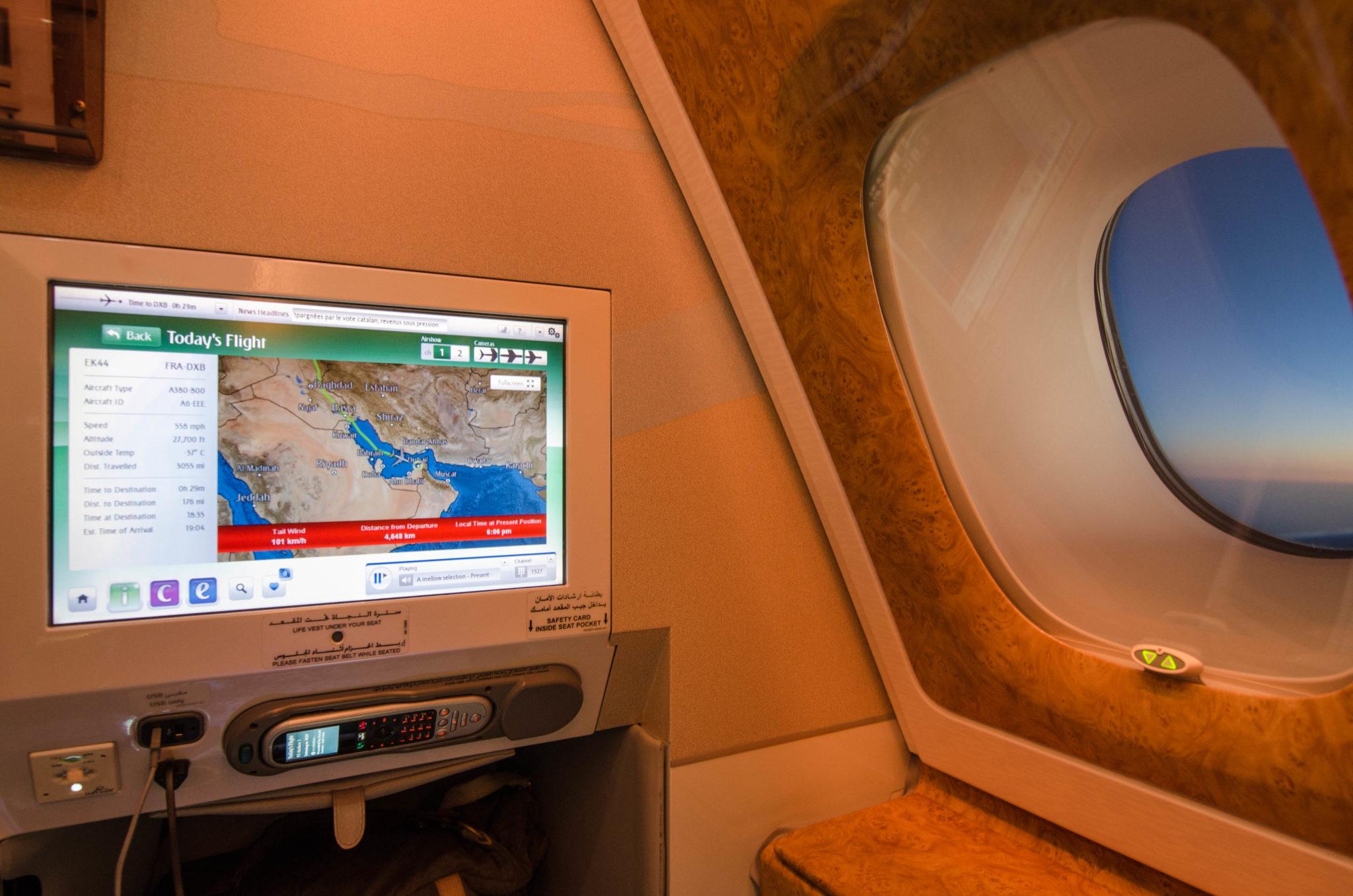 Emirates Business Class A380: Gemütlich wird es hier erst recht zum Sonnenuntergang