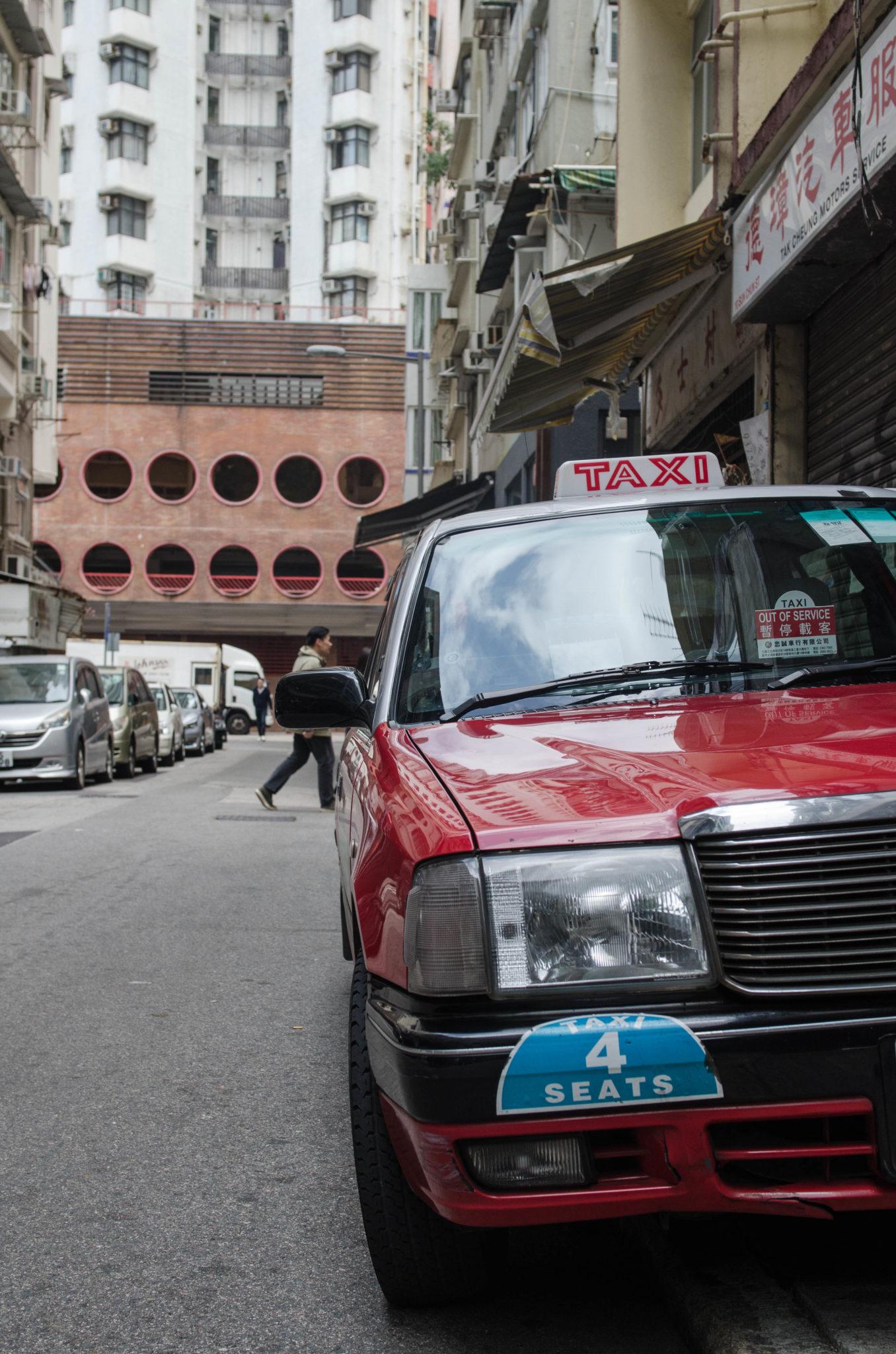 Die Taxis fahren in Hongkong rund um die Uhr