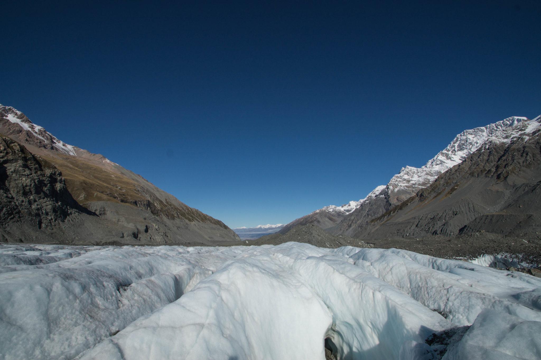 Der Gletscher am Mount Cook auf der Südinsel von Neuseeland