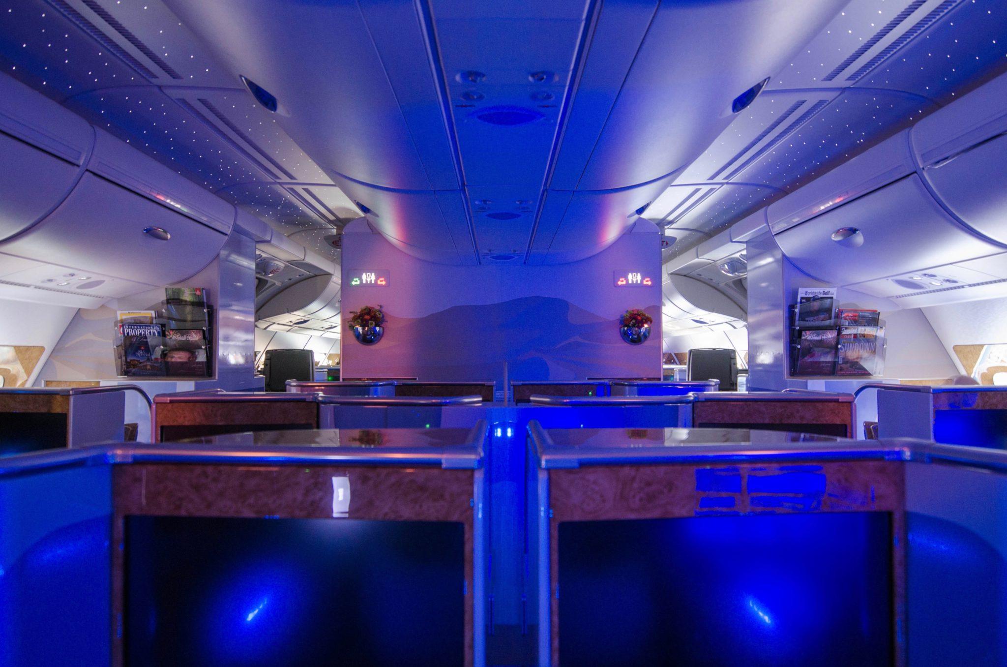 Die Kabine der Business Class bei Emirates im A380 ist groß und gemütlich.