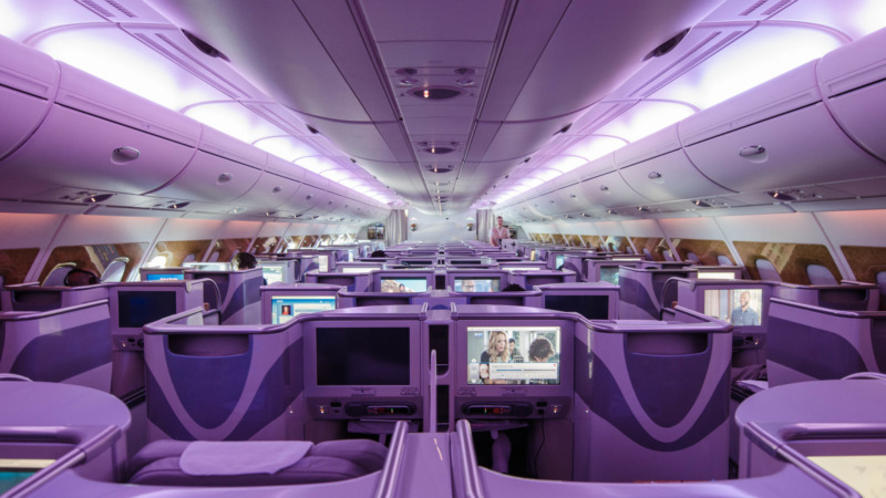 Die Kabine der Emirates Business Class im Airbus A380