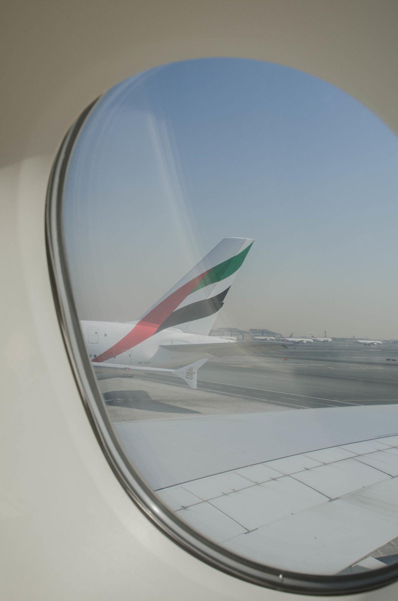 Die Aussicht vom Fenster in der Emirates Business Class im A380