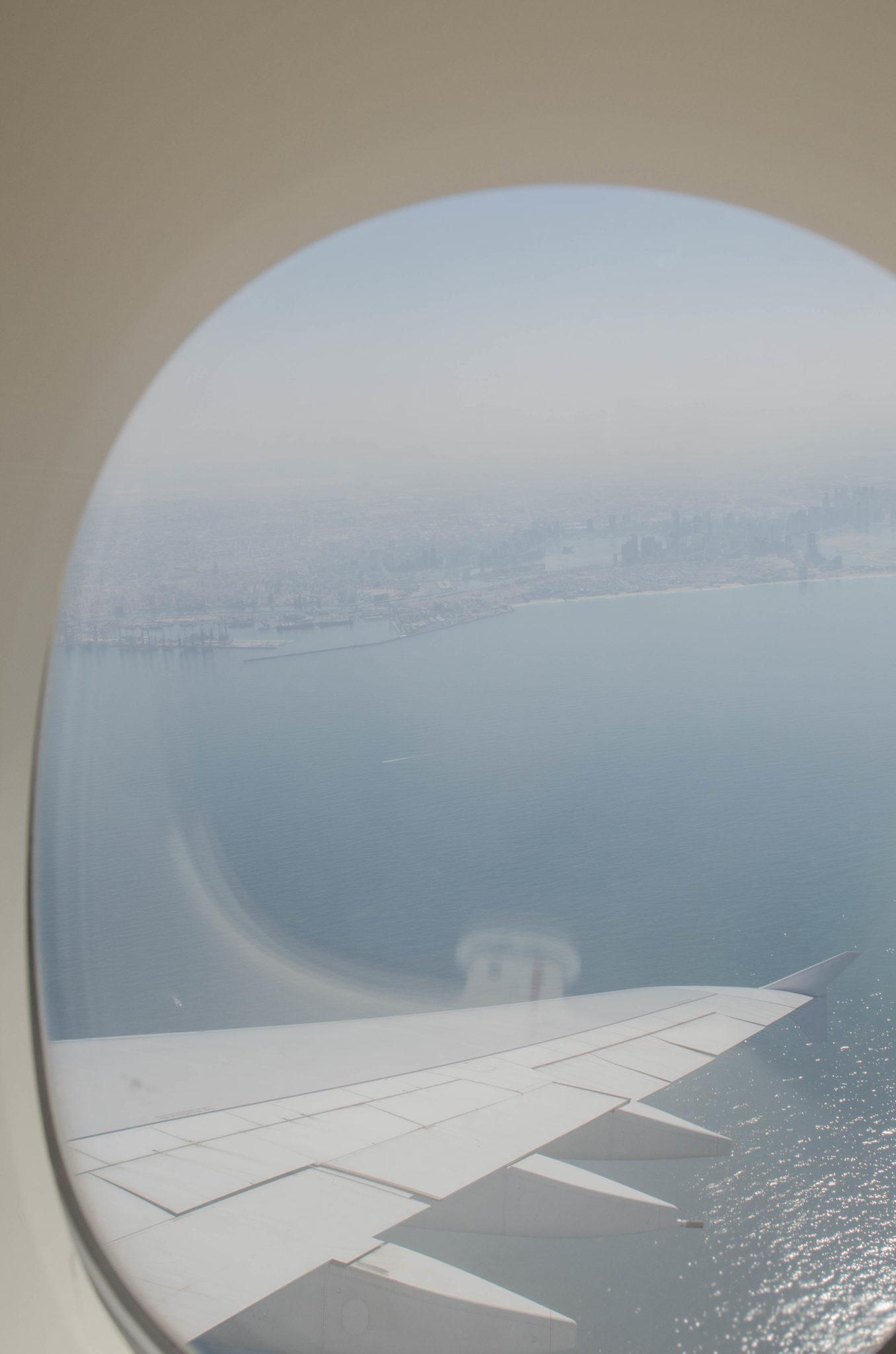 Aus der Emirates Business Class sieht man Dubai von oben