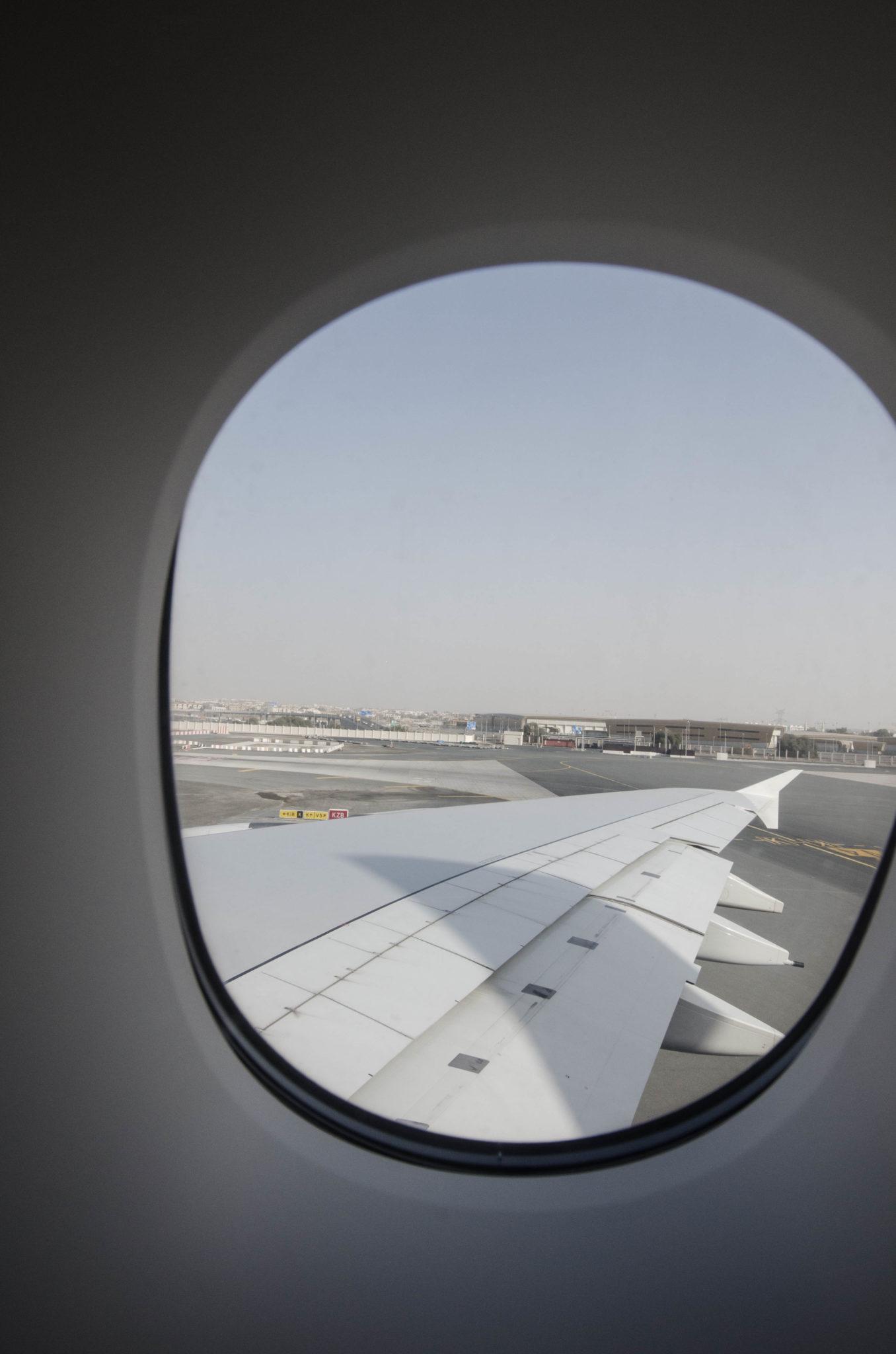 Ein letzter Blick nach draußen, dann geht's mit Emirates nach München.