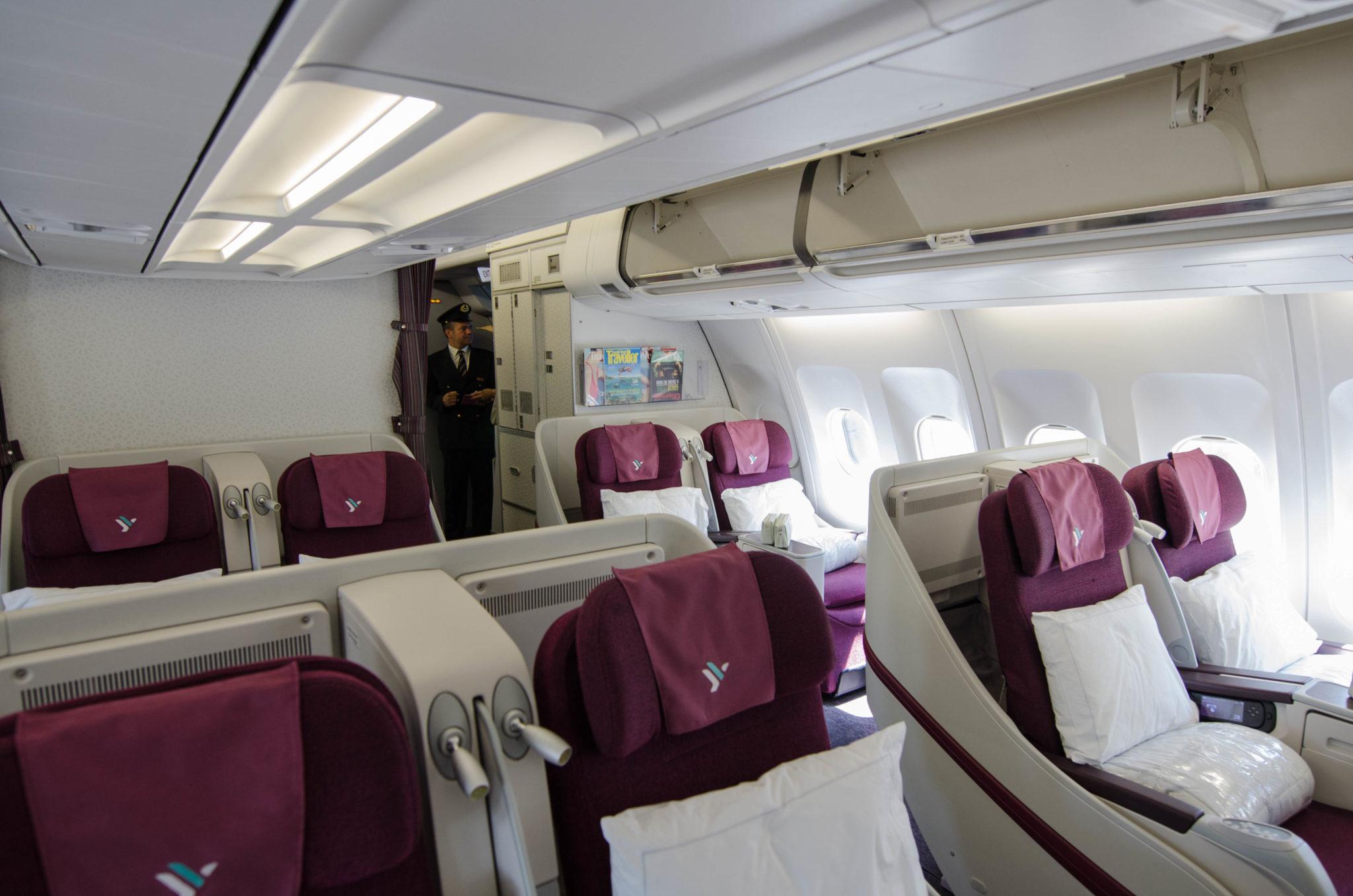 Die Kabine in der Air Italy Business Class auf dem Flug von Mailand nach New York