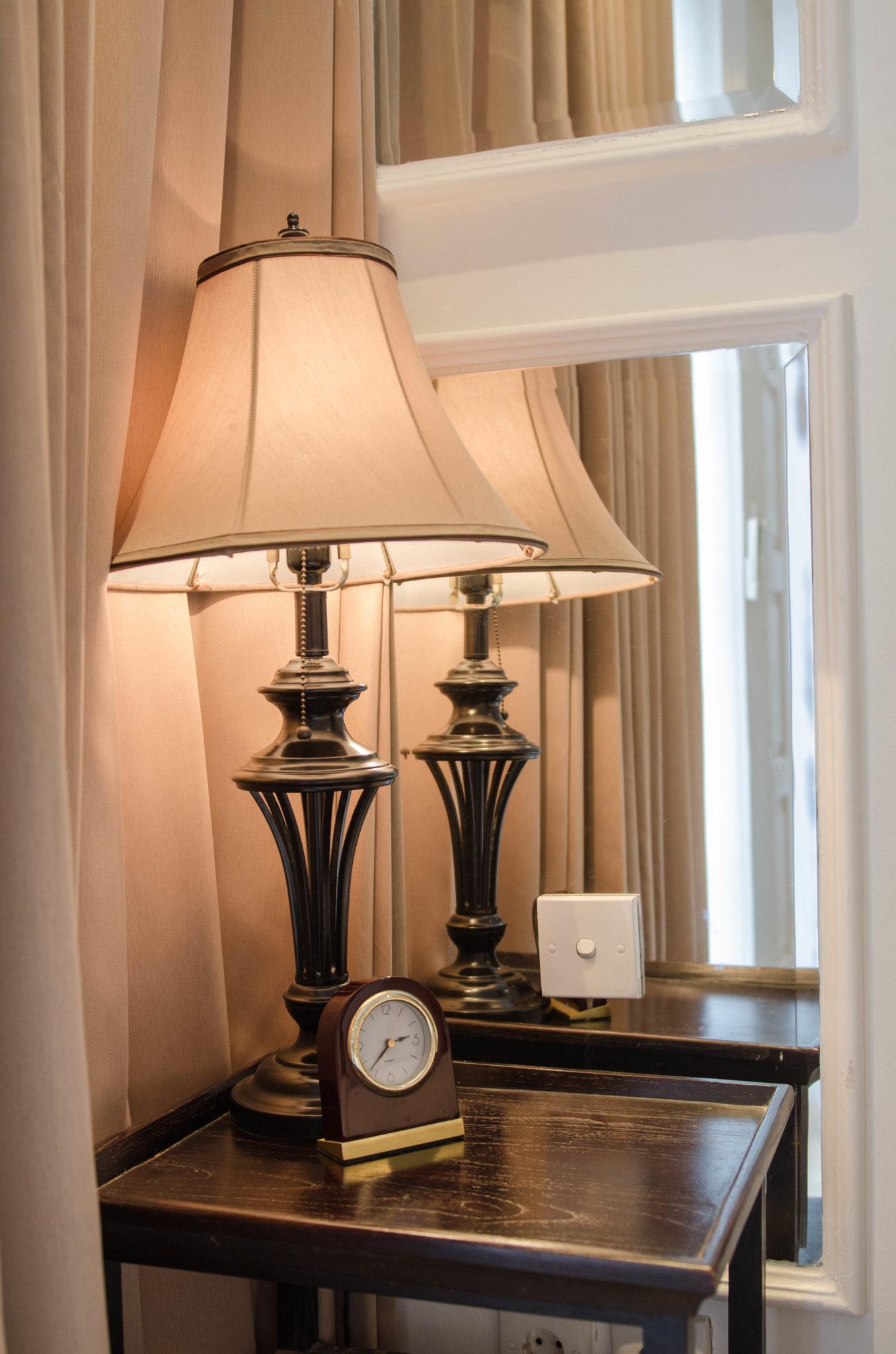 Eine altmodische Lampe.