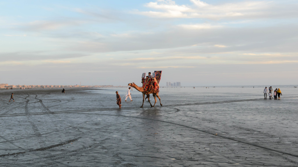 Kamele gibt es in Karatschi am Strand