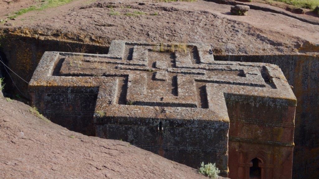 Felsenkirchen von Lalibela sind wichtige Sehenswürdigkeiten in Äthiopien