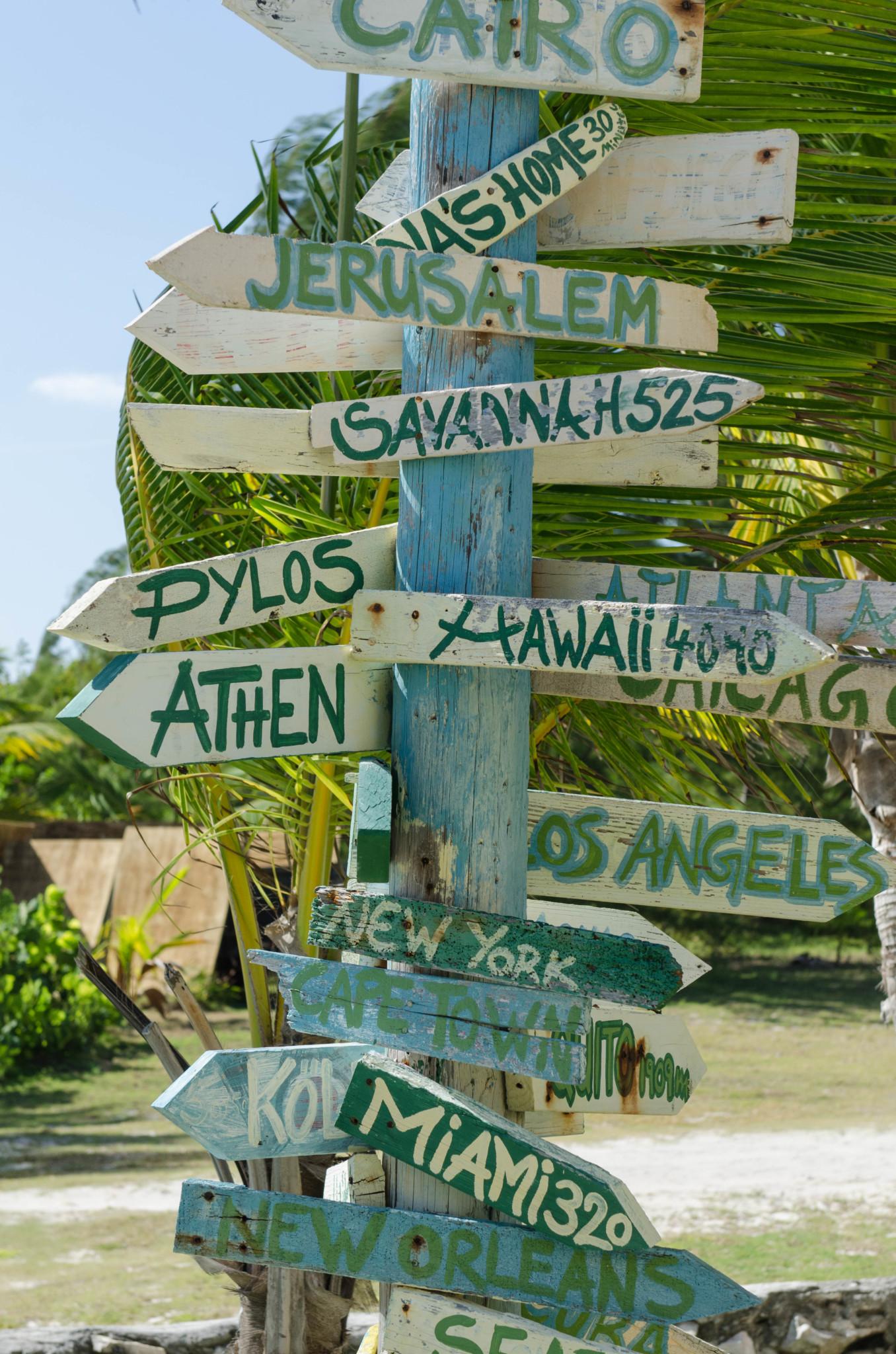 Wegweiser auf Cat Island