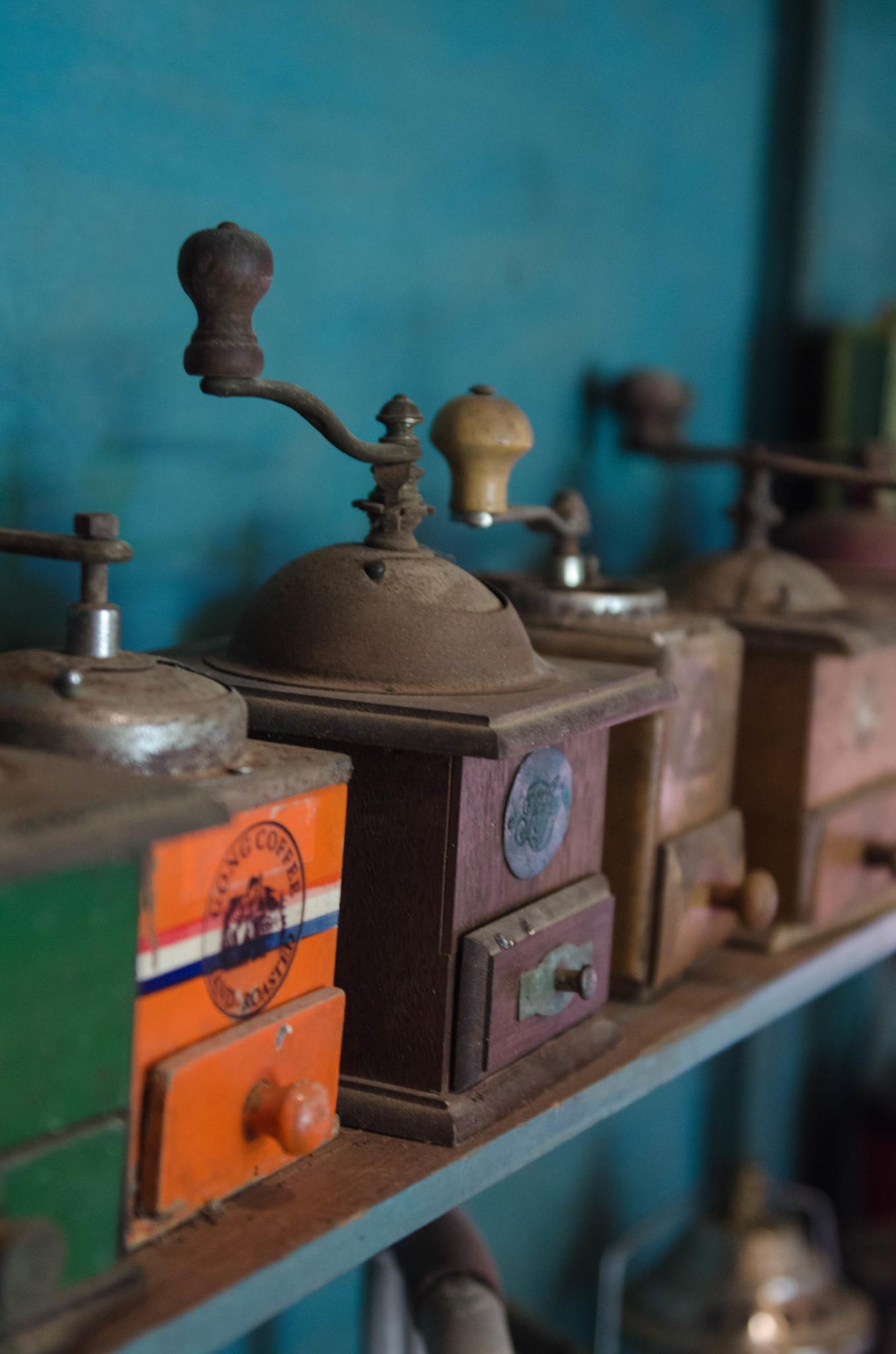 Kaffeemühlen in der Kaffeefarm Gong in Ranong