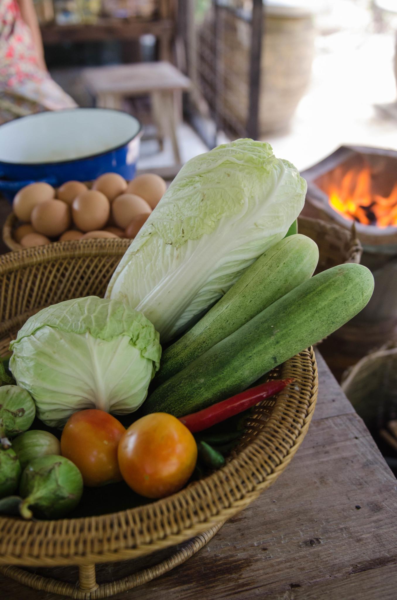 Frisches Gemüse beim Kochkurs in Chumphon