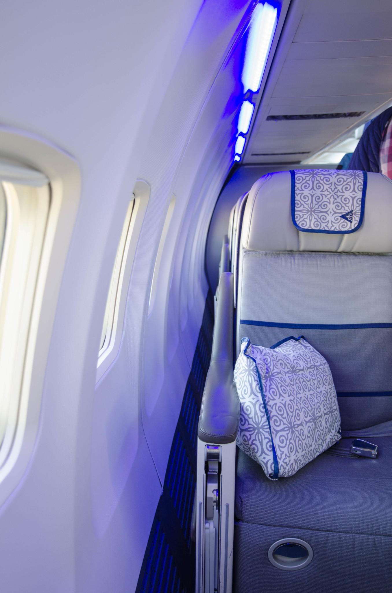 Futuristisches Design in der Kabine von Air Astana