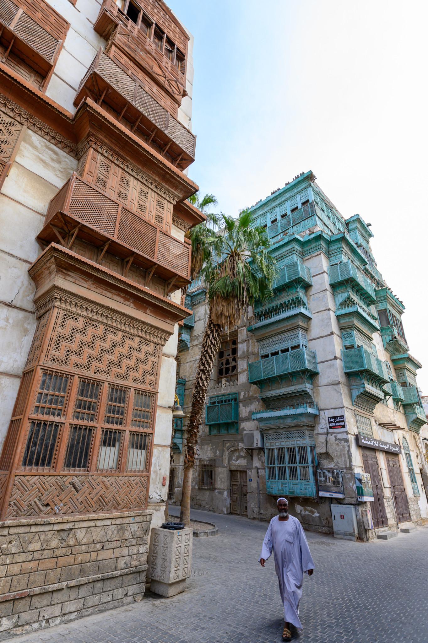 Architektur der Häuser in der Altstadt von Jeddah