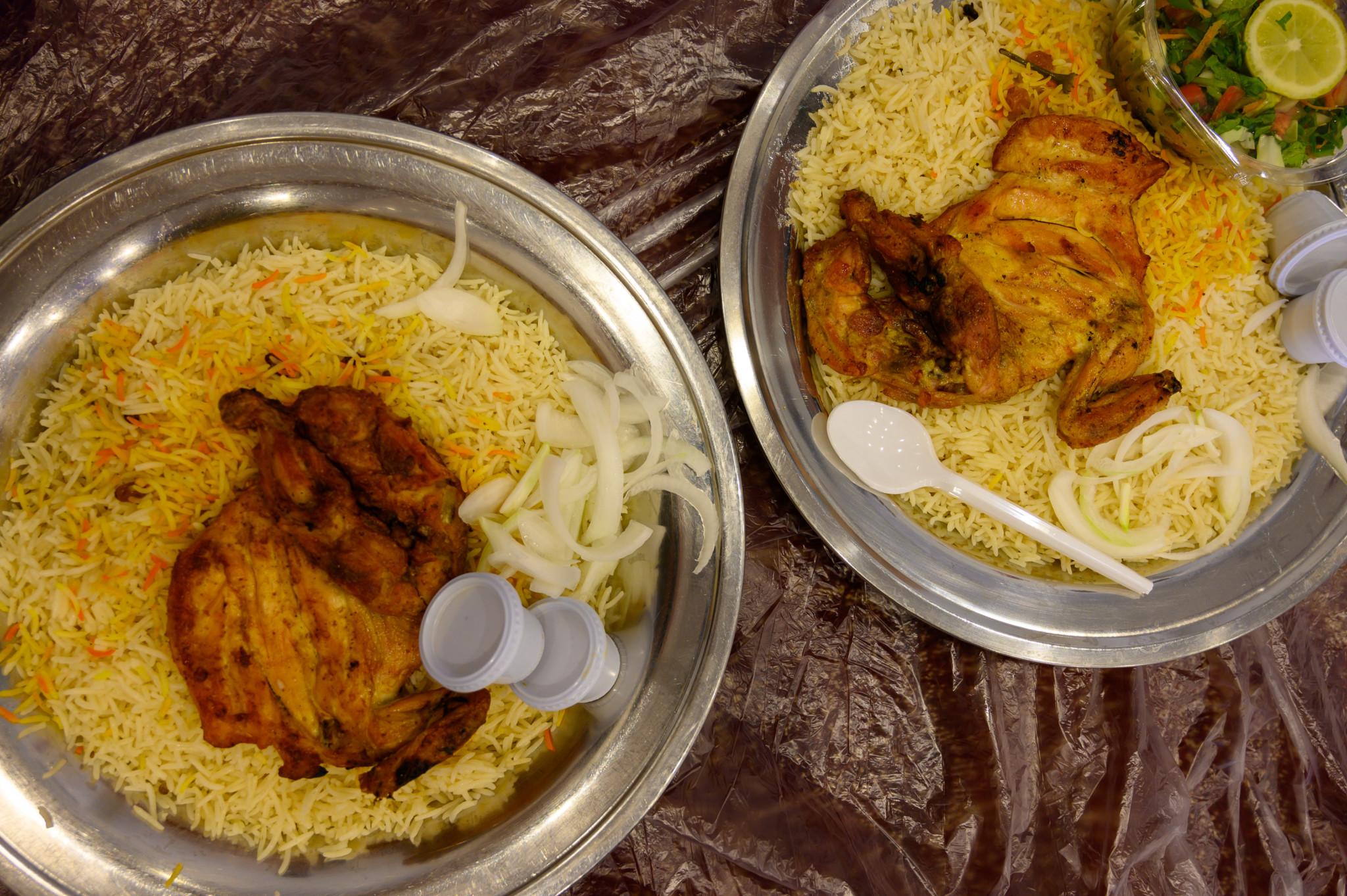 Das saudische Nationalgericht ist Kabsa: Hähnchen mit Reis