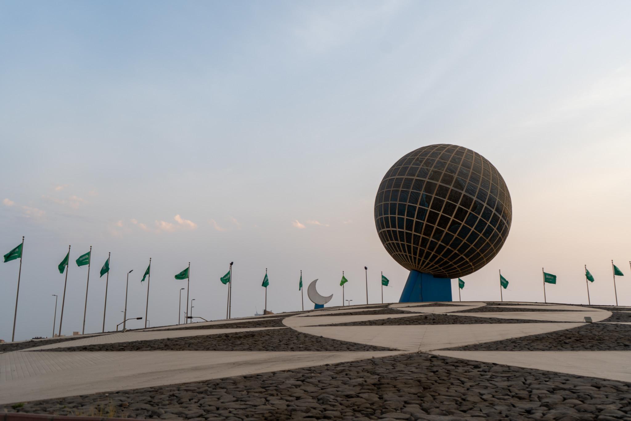 Globus Kreisverkehr in Jeddah Saudi-Arabien