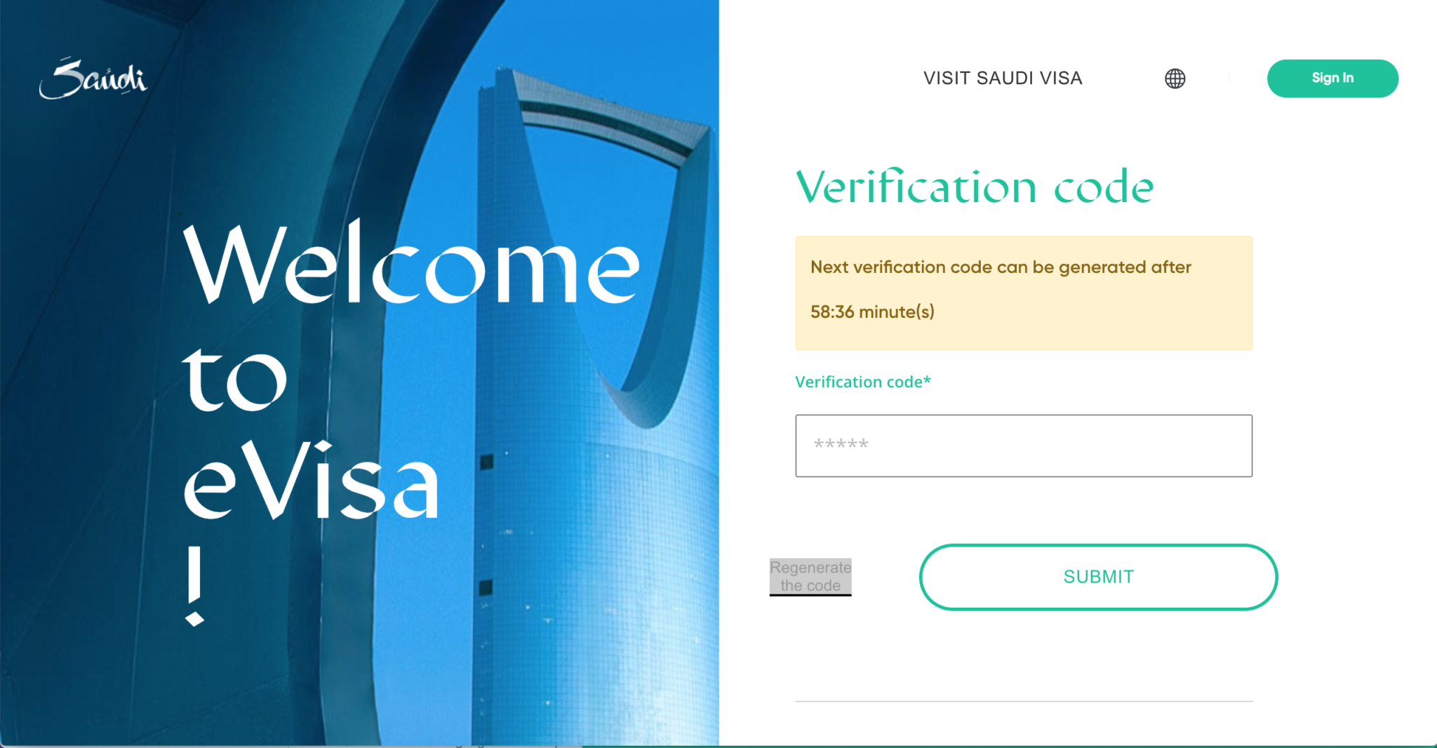 Saudi Arabien Visa Verification Code