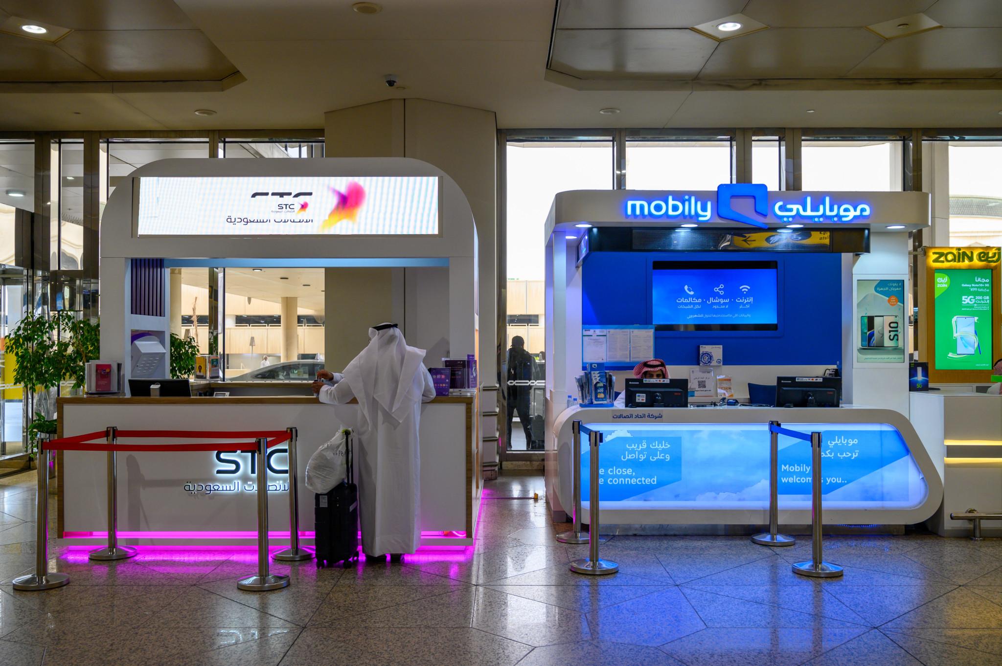 Sim-Karten-Stände am Flughafen von Jeddah