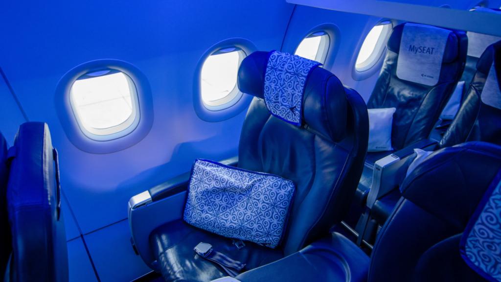 Die Sitze in der Air Astana Business Class