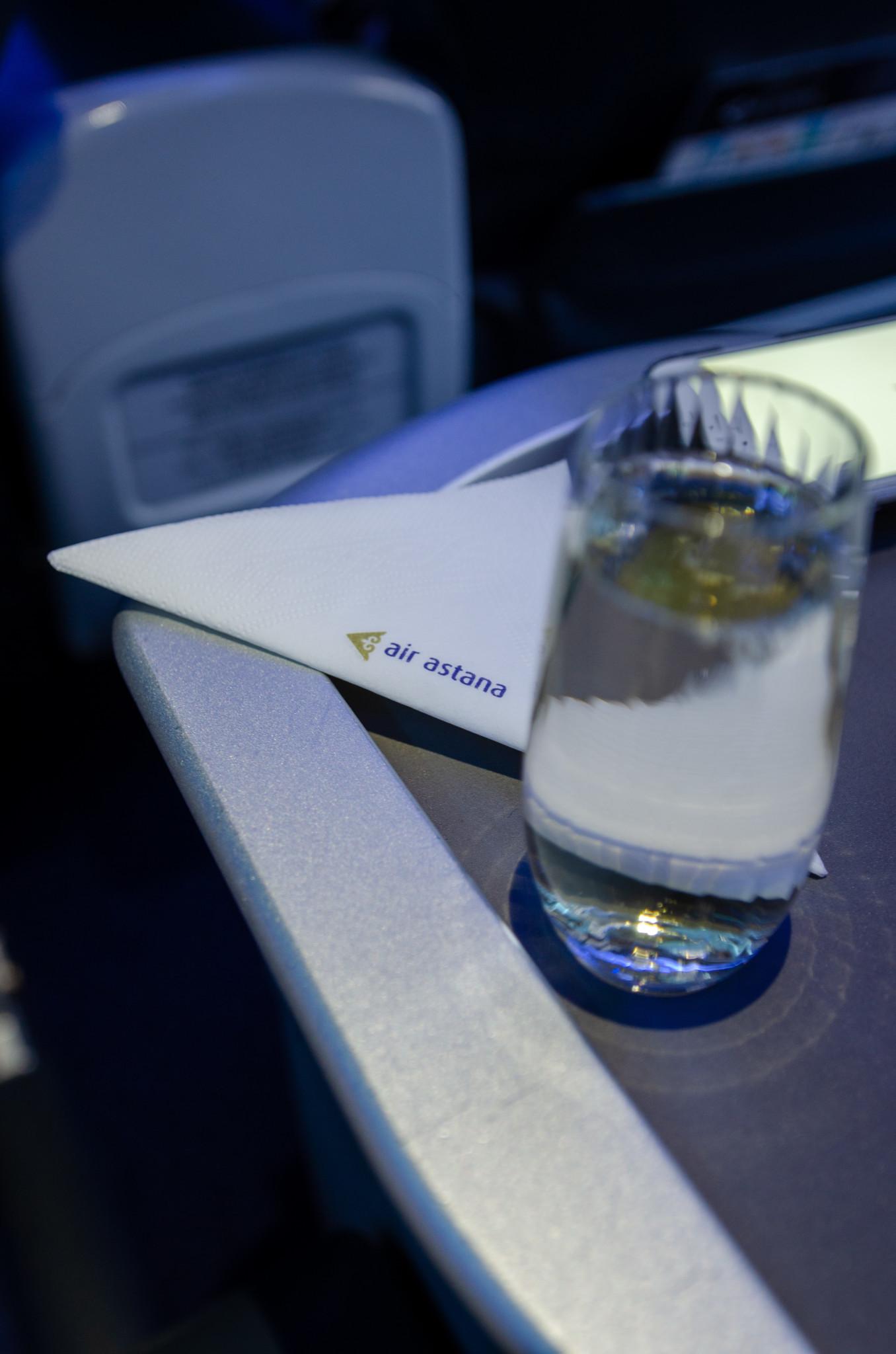 Essen in der Business Class von Air Astana