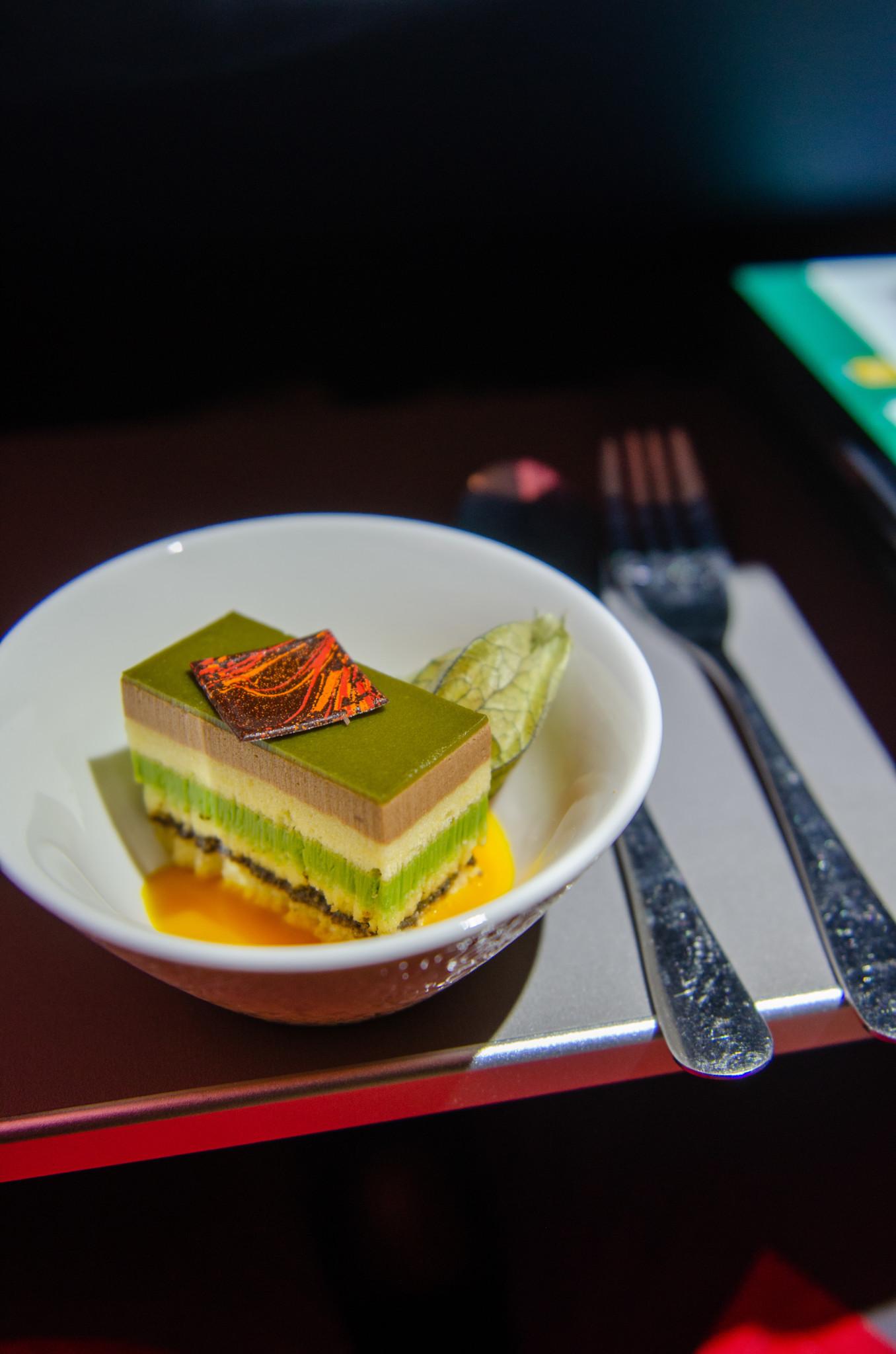 Dessert in der Business Class von Air Astana