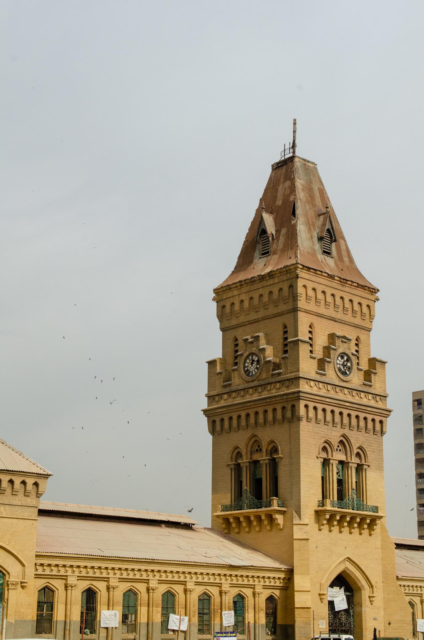 Turm des Empress Market in Karachi