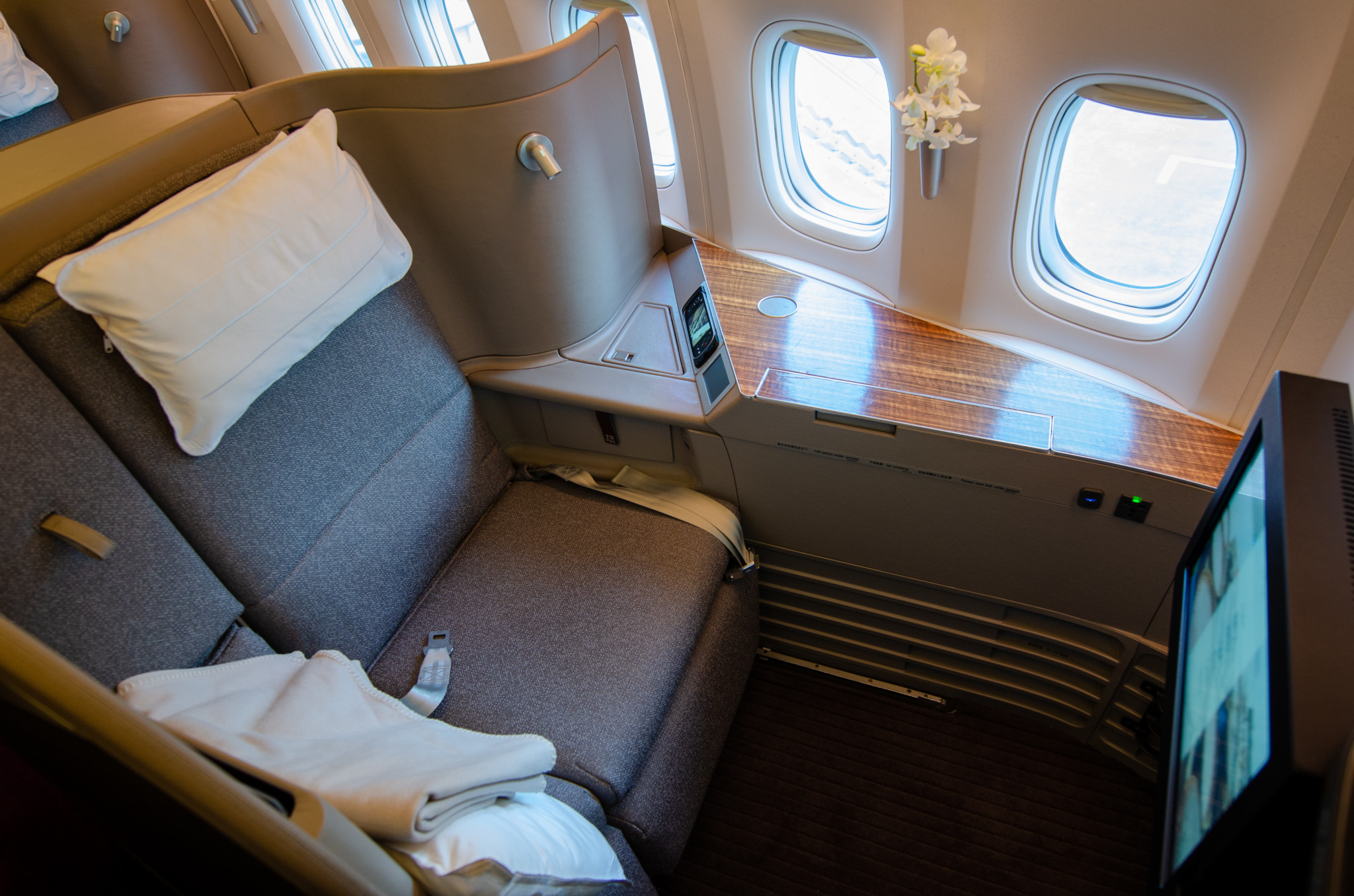 Sitz in der Cathay Pacific First Class