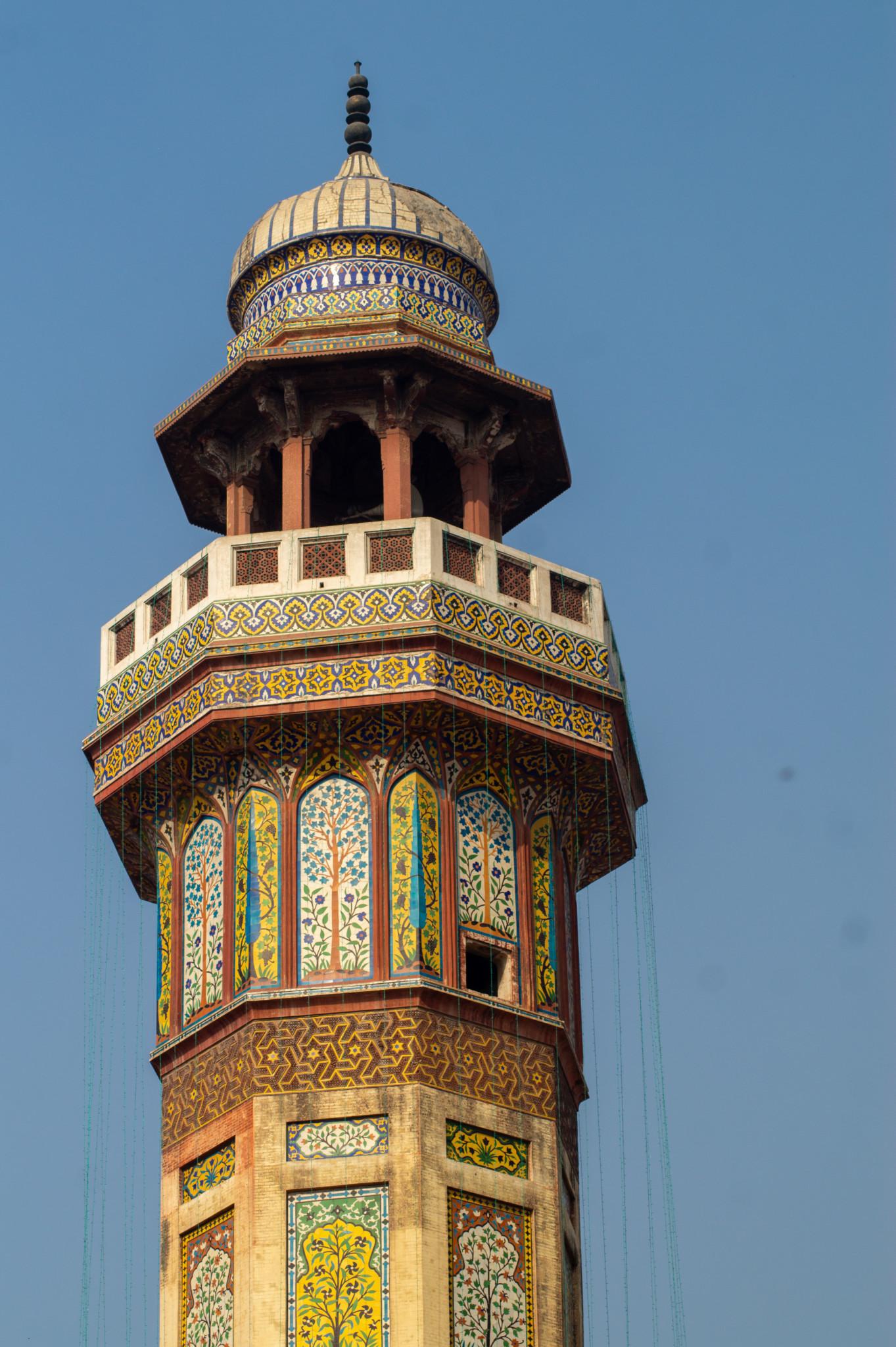 Minarett der Wazir Khan Moschee