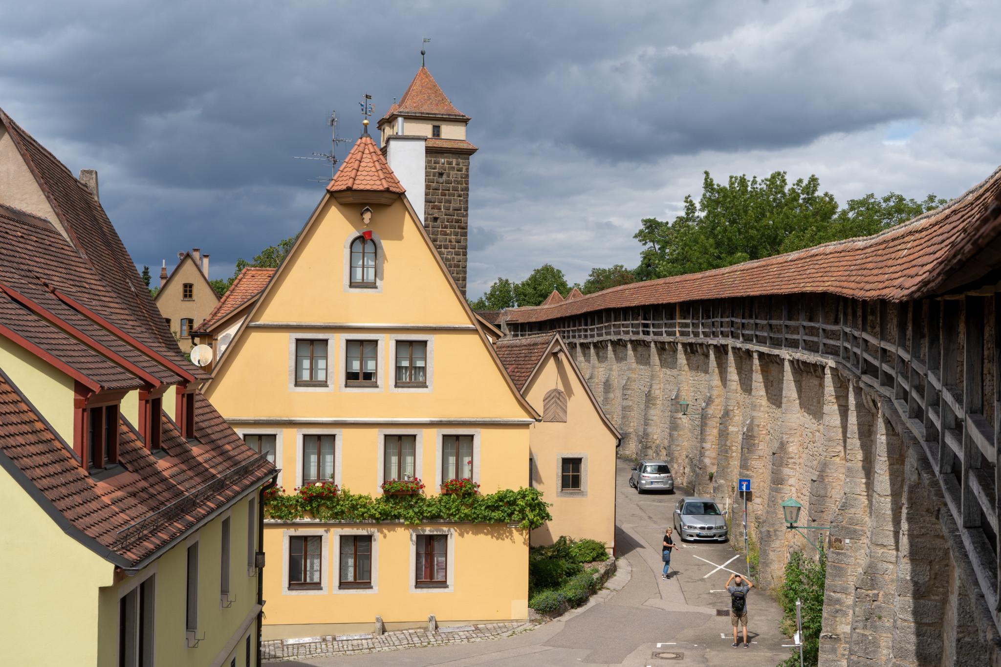 Die berühmte Stadtmauer in Rothenburg ob der Tauber