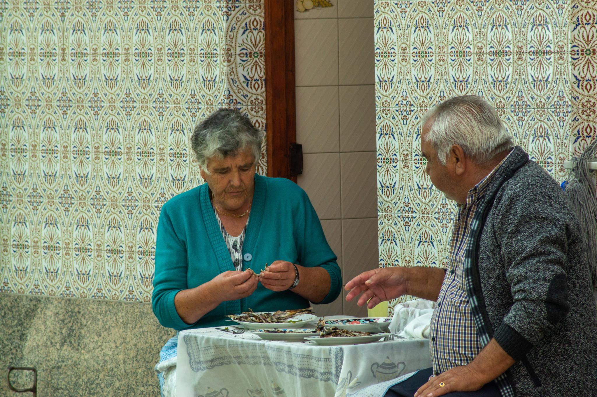 Typische Szene im Fischerdorf Afurada
