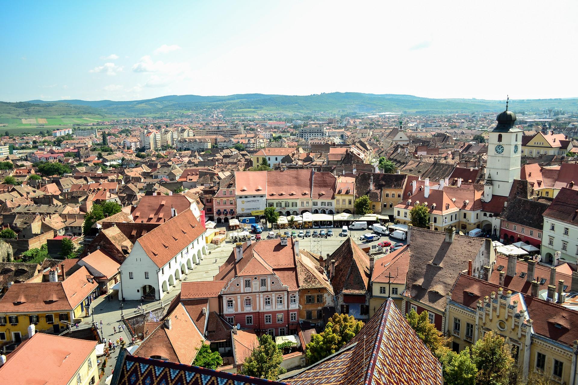 Sibiu in Rumänien von oben
