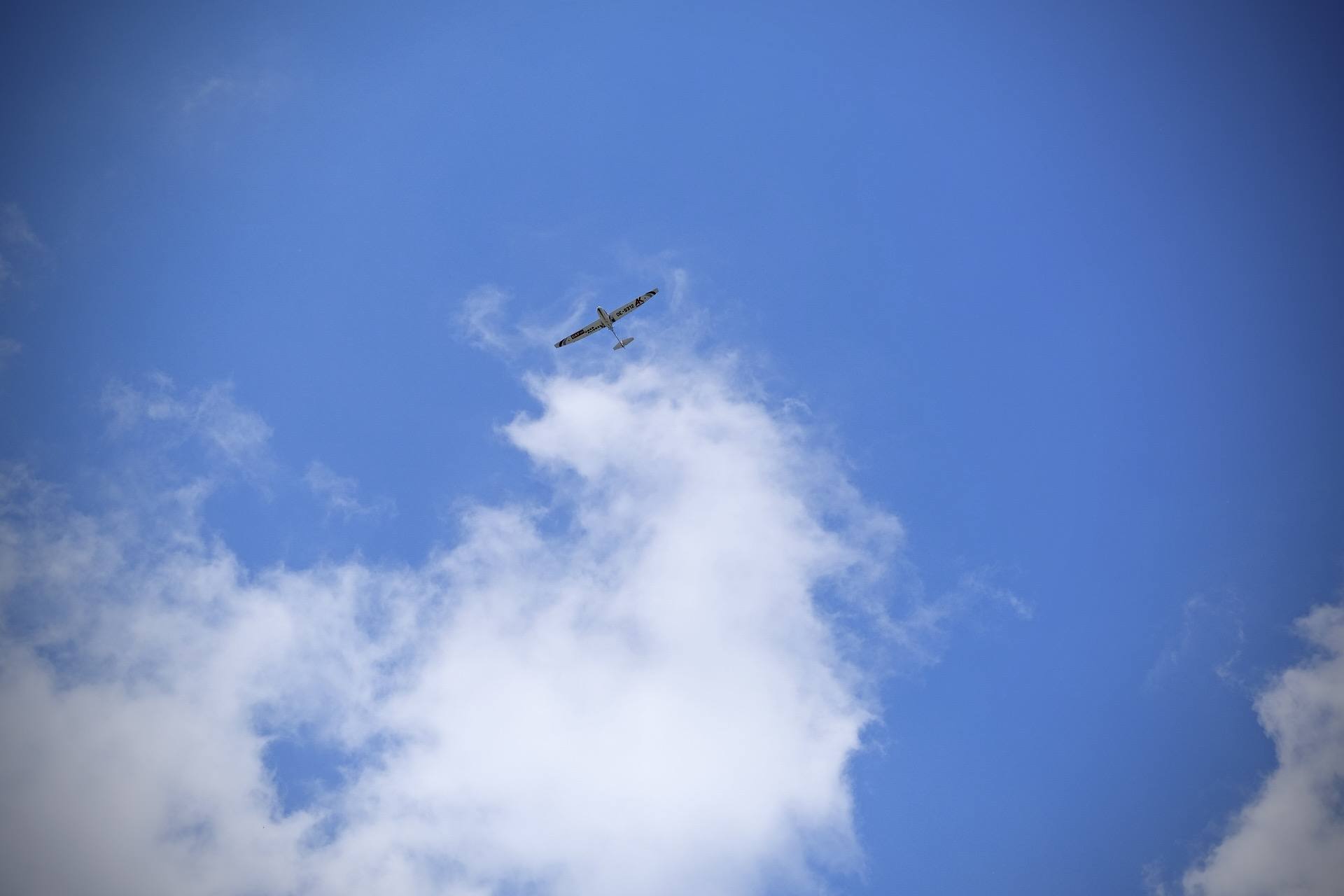 Ein Segelflugzeug am Himmel über Hamburg